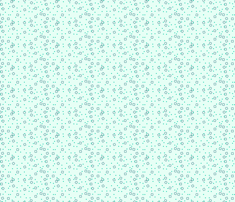 Stylized Flower - Ditsy Blocks and Dots (teal) fabric by studiofibonacci on Spoonflower - custom fabric