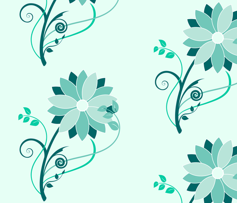Stylized Flower - Large Print (teal) fabric by studiofibonacci on Spoonflower - custom fabric