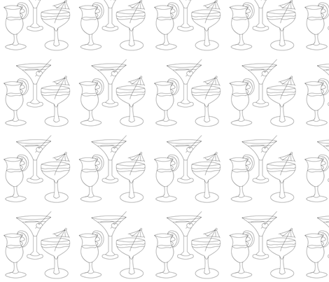 cocktails-line fabric by andtwinsmake5 on Spoonflower - custom fabric