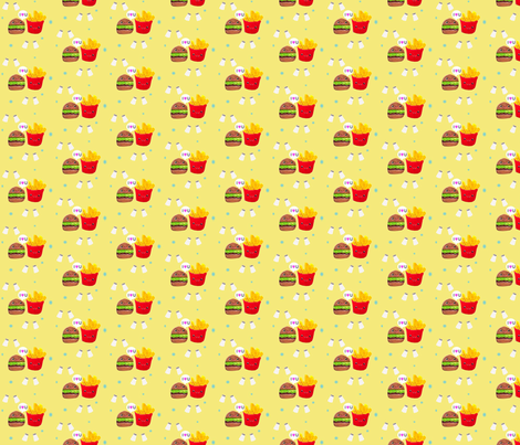 Burger and fries fabric by itybitybags on Spoonflower - custom fabric