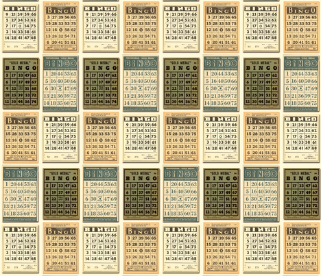vintage bingo cards fabric by kennerroad on Spoonflower - custom fabric