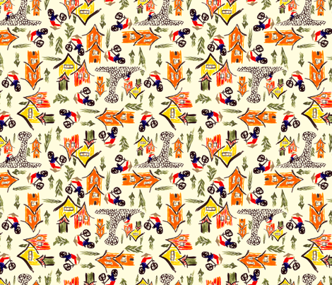 Chinese Village fabric by royalforest on Spoonflower - custom fabric