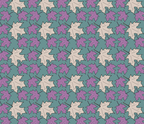 4 Maple leaves_green_lilac_warm-beige fabric by mina on Spoonflower - custom fabric