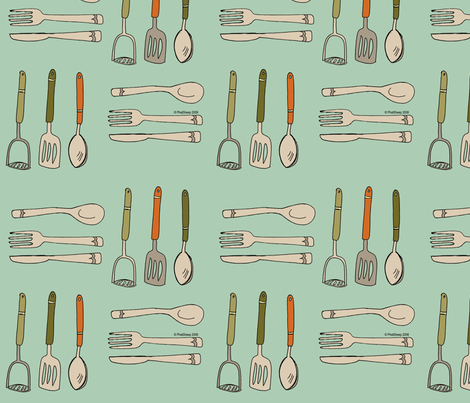 kitchen_utensils_spoonflower fabric by phatsheepfabrics on Spoonflower - custom fabric