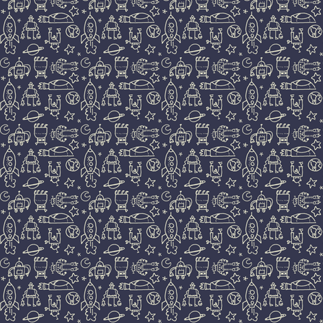 robots_navy fabric by juliannlaw on Spoonflower - custom fabric