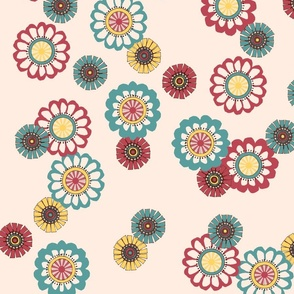 Mod Flowers Ecru
