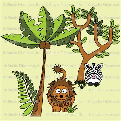 Cartoon Jungle - Lion & Zebra