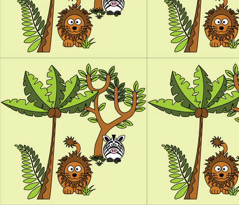 Cartoon Jungle - Lion & Zebra fabric by studiofibonacci on Spoonflower - custom fabric
