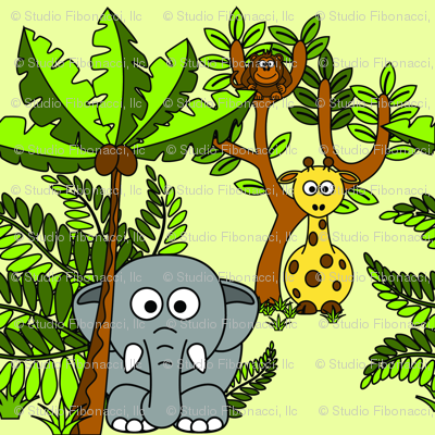 Cartoon Jungle - Elephant, Monkey & Giraffe