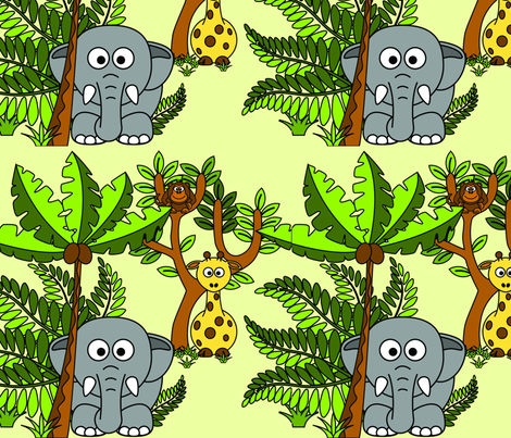 Cartoon Jungle - Elephant, Monkey & Giraffe fabric by studiofibonacci on Spoonflower - custom fabric