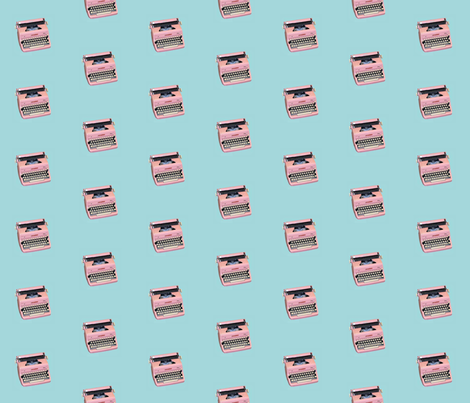 Pink typewriter fabric by itybitybags on Spoonflower - custom fabric