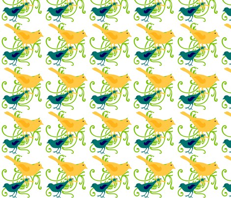 Birds fabric by sewdiva on Spoonflower - custom fabric