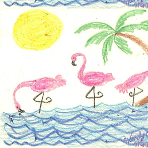 Wading_Flamingos
