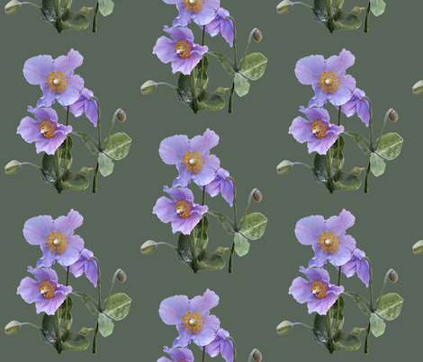 Lilac-poppy-on-sage-green fabric by mina on Spoonflower - custom fabric