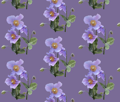 Meconopsis-150crsshtch-CROP-LAV fabric by mina on Spoonflower - custom fabric
