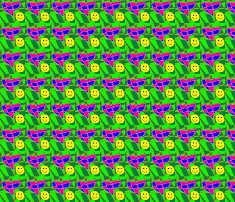 green_on_green_check_heart_smile fabric by eelkat on Spoonflower - custom fabric