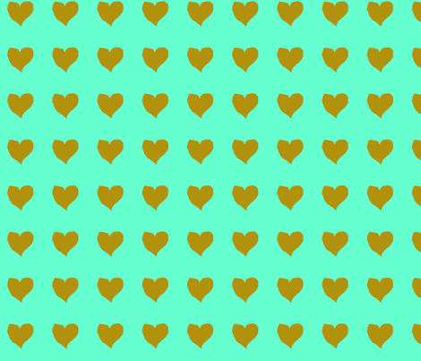 olive_heart_on_aqua fabric by eelkat on Spoonflower - custom fabric