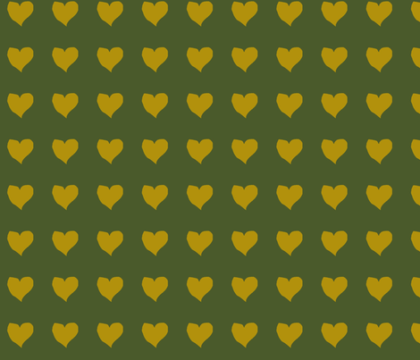 olive_heart_on_green fabric by eelkat on Spoonflower - custom fabric