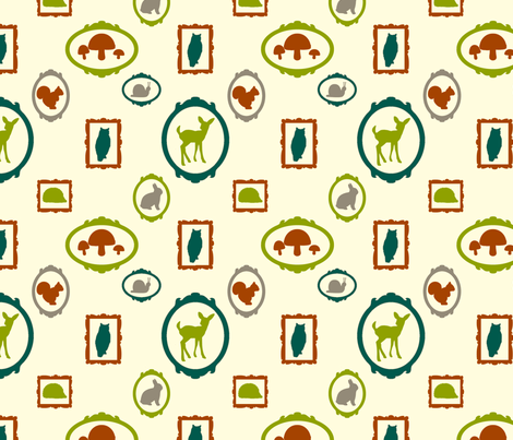 WoodlandSillhouettesorange8half fabric by carolinaharris on Spoonflower - custom fabric
