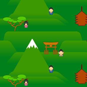 Cartoon Japanese Countryside
