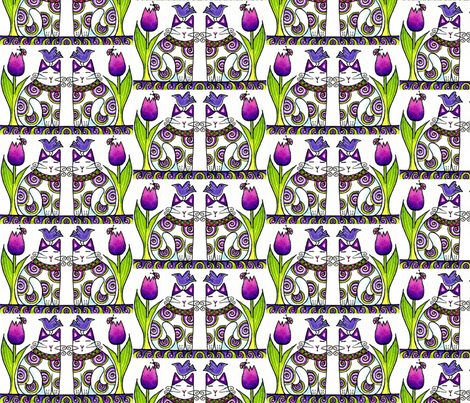 BIRD BRAIN 05.Twins In the Tulips Columns. fabric by susanfaye on Spoonflower - custom fabric