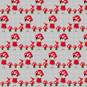 Little Mushroom Girl (Grey and Red)