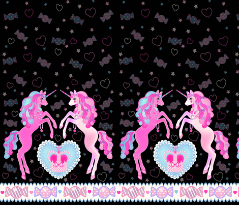 19 inch Black Unicorn Fantasy Print fabric by pinkmacaroon on Spoonflower - custom fabric