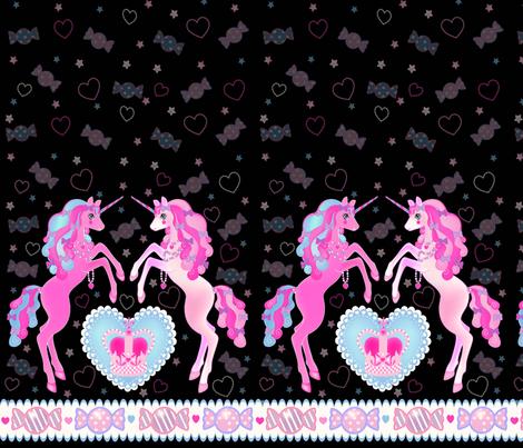 19 inch Black Unicorn Fantasy Print fabric by pinkmacaroon on Spoonflower - custom fabric