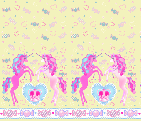 19 inch Light Yellow Unicorn Fantasy Print fabric by pinkmacaroon on Spoonflower - custom fabric