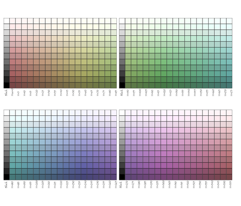 All-around-the-hues color palettes test - Illustrator version