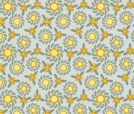 retro flowers fabric by suziedesign on Spoonflower - custom fabric