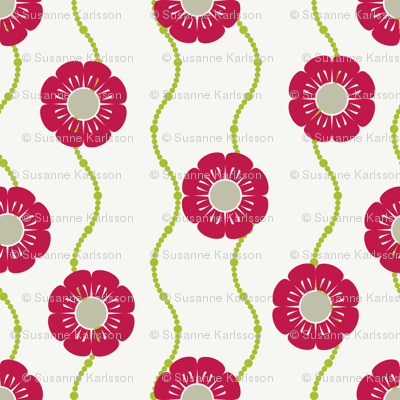 red retro flowers