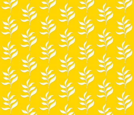 Dancing Leaf on Yellow fabric by applesandorange on Spoonflower - custom fabric