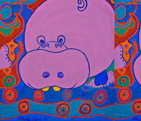 happy hippo fabric by nic-ki-ta on Spoonflower - custom fabric
