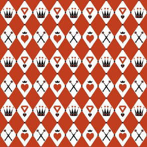 Queen of Hearts Motifs Red White