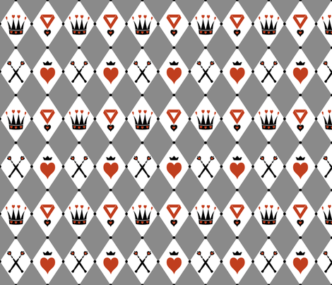 Queen of Hearts Motifs Grey White fabric by ophelia on Spoonflower - custom fabric