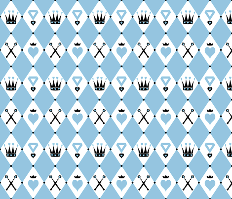 Queen of Hearts Motifs Blue White fabric by ophelia on Spoonflower - custom fabric