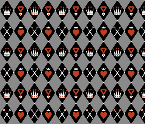 Queen of Hearts Motifs Grey Black fabric by ophelia on Spoonflower - custom fabric