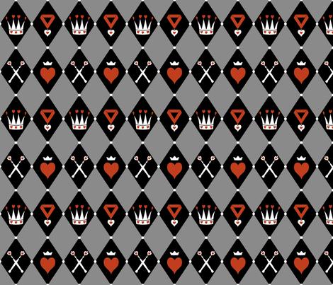 Queen of Hearts Motifs Grey Black