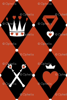 Queen of Hearts Motifs Red Black