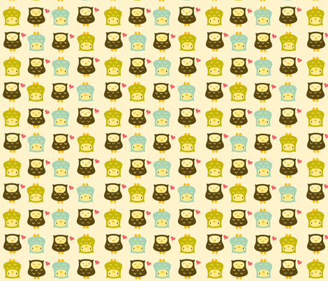 yellowowls fabric by luckyapple on Spoonflower - custom fabric