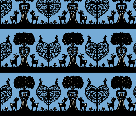 Woodland Cutout (light blue and black) fabric by jmaranez on Spoonflower - custom fabric