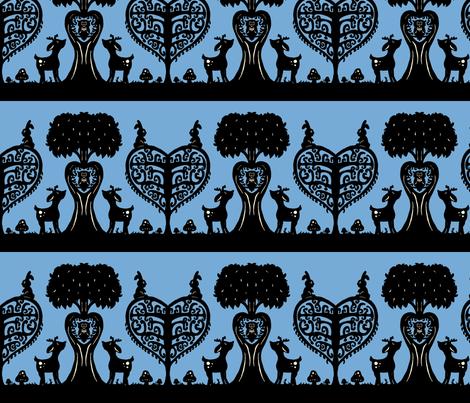 Woodland Cutout (light blue and black) fabric by jmaranez on Spoonflower - custom fabric