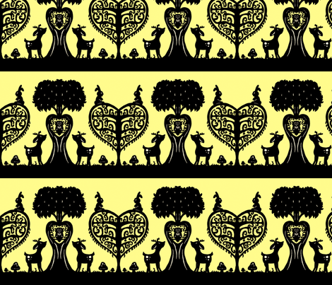 Woodland Cutout (Black and Yellow) fabric by jmaranez on Spoonflower - custom fabric