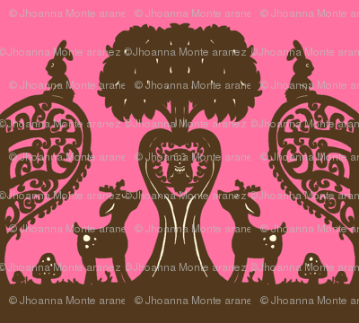 Woodland Cutout (Brown & Pink)