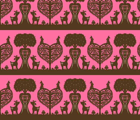Woodland Cutout (Brown & Pink) fabric by jmaranez on Spoonflower - custom fabric