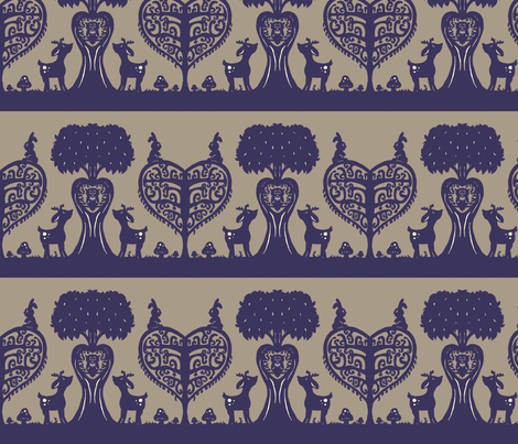 Woodland Cutout (Navy Blue & Grey) fabric by jmaranez on Spoonflower - custom fabric