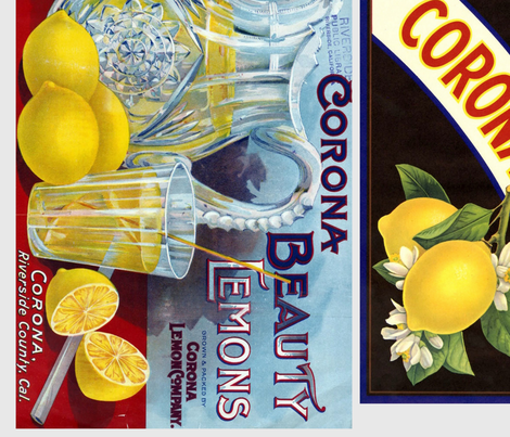 Corona fruit labels fabric by janeesmith on Spoonflower - custom fabric