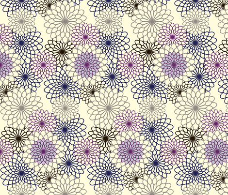 Mums--Outline on background fabric by nightgarden on Spoonflower - custom fabric