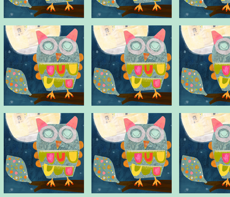 Owl Fabric Panel fabric by redfish on Spoonflower - custom fabric